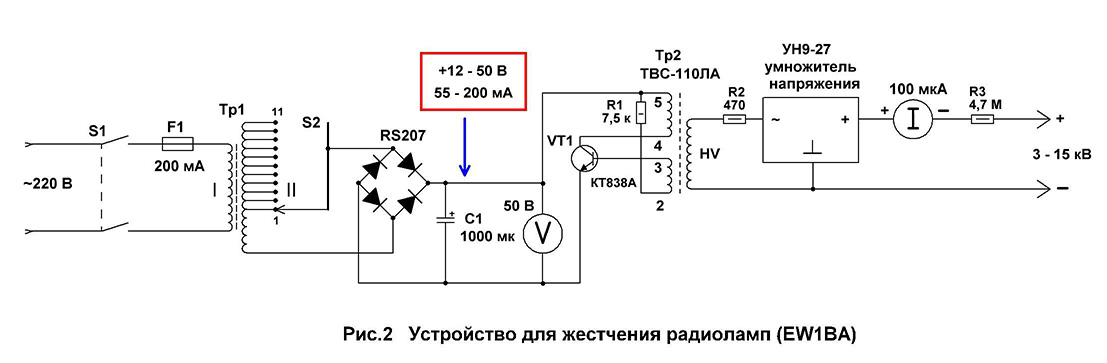 Прибор для жестчения радиоламп